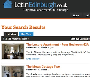 Let In Edinburgh Listing Pages