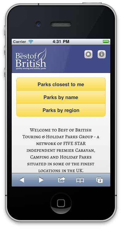 Best of British mobile home page