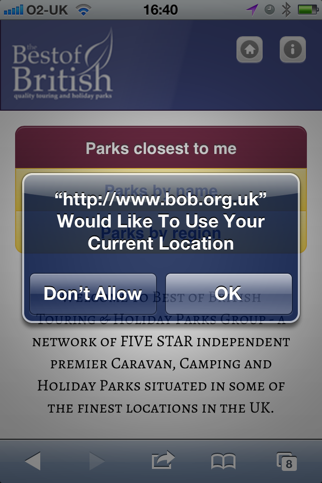Best of British mobile location request