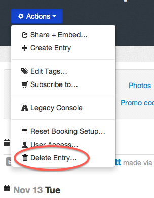 delete entry action in the Admin Console