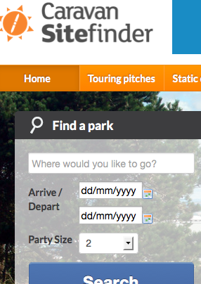 Caravan Sitefinder home page availability search screen grab