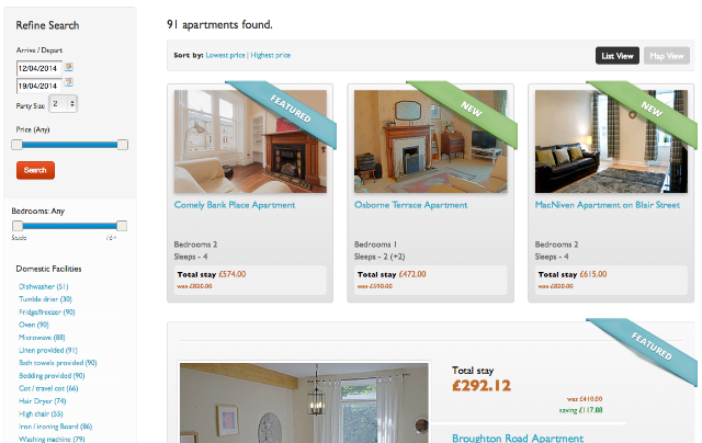 screen grab of reserve apartments featured listings