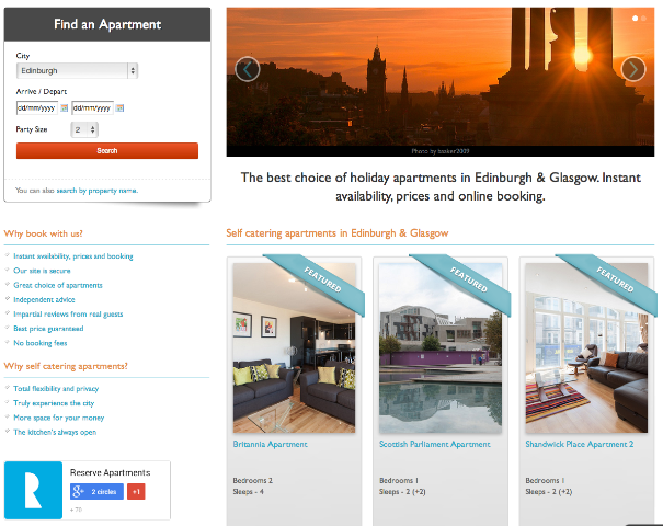 screen grab of reserve apartments featured properties