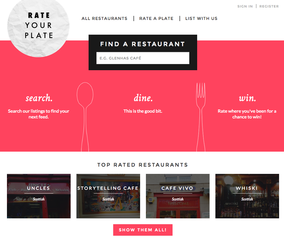 desktop screen grab of Rate your plate