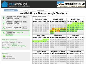Let in Edinburgh Booking Screens